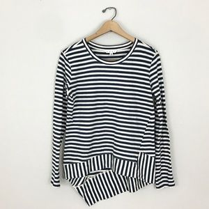 CAbi XS Stripe Asymmetrical Top Blue White